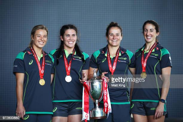 Emma Tonegato Charlotte Caslick Shannon Parry and Alicia Quirk of the Australian Women's Sevens team pose following their 20172018 Sevens World...