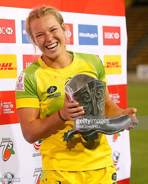 Emma Tonegato of Australia holds the MVP award after the Australian team defeated New Zealand at the Women's 2016 USA Sevens Rugby Tournament in...