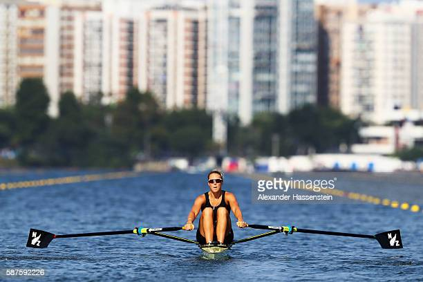 Emma Twigg of New Zealand competes during the Women's Single Sculls Quarterfinals on Day 4 of the Rio 2016 Olympic Games at the Lagoa Stadium on...