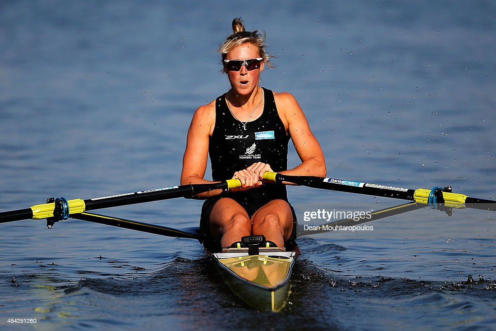 Emma Twigg of New Zealand competes in the Women's Single Sculls Quarterfinal during the 2014 World Rowing Championships at the Bosbaan on August 27, 2014 in Amsterdam, Netherlands.