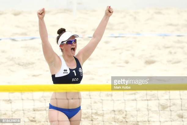 Emma Waldie of Scotland celebrate as she competes in the Girls Beach Volleyball on day 1 of the 2017 Youth Commonwealth Games at Queen Elizabeth...