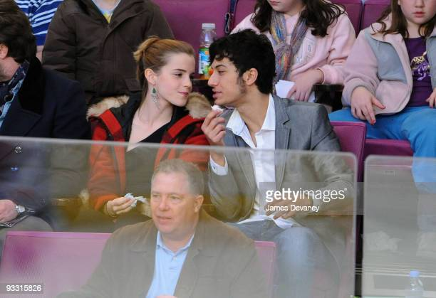 Emma Watson and boyfriend attend the Florida Panthers game against the New York Rangers at Madison Square Garden on November 21 2009 in New York City