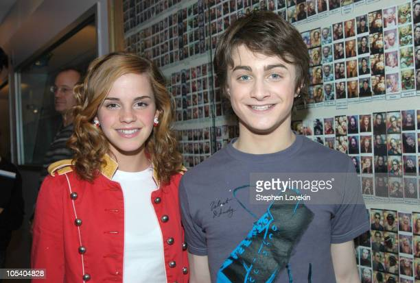 Emma Watson and Daniel Radcliffe Military jacket during Daniel Radcliffe and Emma Watson Visit MTV'S 'TRL' May 24 2004 at MTV Studios in New York...