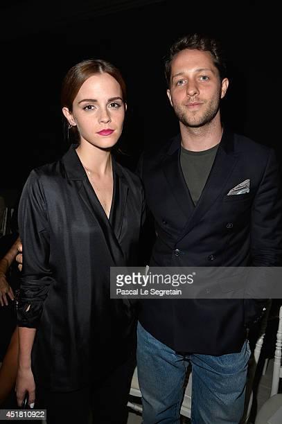 Emma Watson and Derek Blasberg attend the Giambattista Valli show as part of Paris Fashion Week Haute Couture Fall/Winter 20142015on July 7 2014 in...