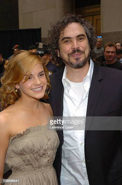 Emma Watson and director Alfonso Cuaron during Harry Potter and the Prisoner of Azkaban New York Premiere Arrivals at Radio City Music Hall in New...