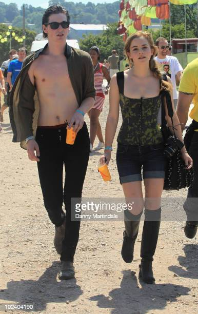 Emma Watson and George Craig attend at Glastonbury Festival at Worthy Farm on June 25 2010 in Glastonbury England