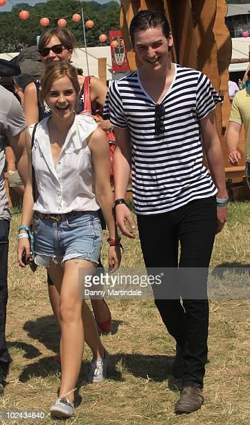Emma Watson and George Craigs attend Glastonbury Festival at Worthy Farm on June 26 2010 in Glastonbury England