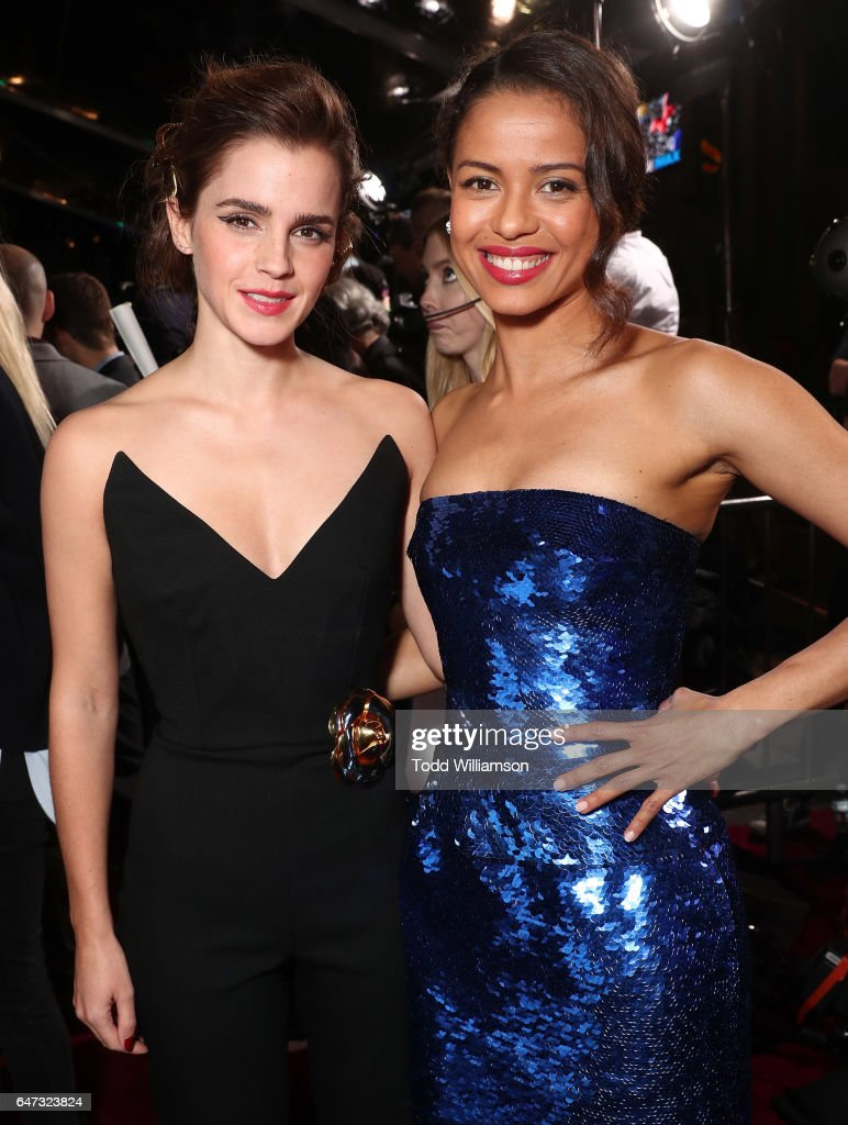 Emma Watson and Gugu Mbatha-Raw attend the premiere of Disney's 'Beauty And The Beast' at El Capitan Theatre on March 2, 2017 in Los Angeles, California.