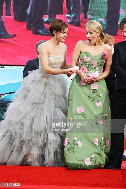 Emma Watson and JK Rowling attend the world premiere of Harry Potter and the Deathly Hallows Part 2 at Trafalgar Square on July 7 2011 in London...