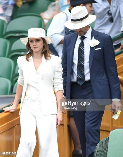 Emma Watson and John Vosler attend day twelve of the Wimbledon Tennis Championships at the All England Lawn Tennis and Croquet Club on July 14 2018...