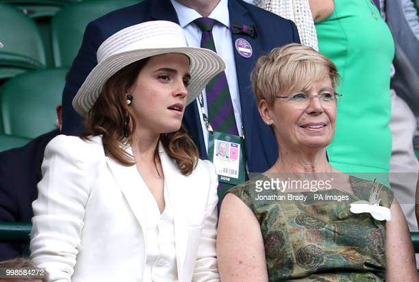 Emma Watson and Lady Rylance in the royal box on centre court on day twelve of the Wimbledon Championships at the All England Lawn Tennis and Croquet...