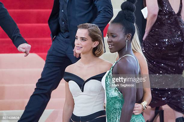 Emma Watson and Lupita Nyong'o attend the 'Manus x Machina Fashion In An Age Of Technology' Costume Institute Gala at Metropolitan Museum of Art on...