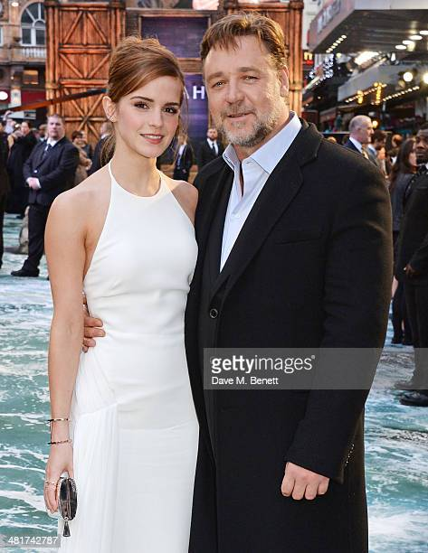 Emma Watson and Russell Crowe attend the UK Premiere of 'Noah' at Odeon Leicester Square on March 31 2014 in London England