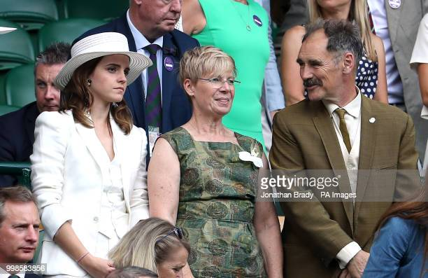 Emma Watson and Sir Mark and Lady Rylance in the royal box on centre court on day twelve of the Wimbledon Championships at the All England Lawn...