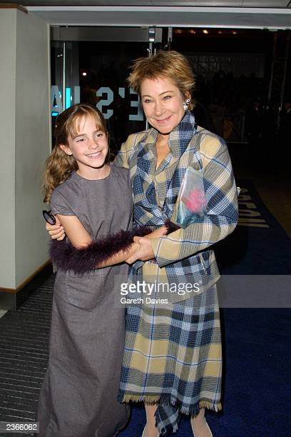 Emma Watson and Zoe Wanamaker who play Hermione granger and Madam Hooch in the film, at the HARRY POTTER and the Sorcerer's Stone World Premiere in...