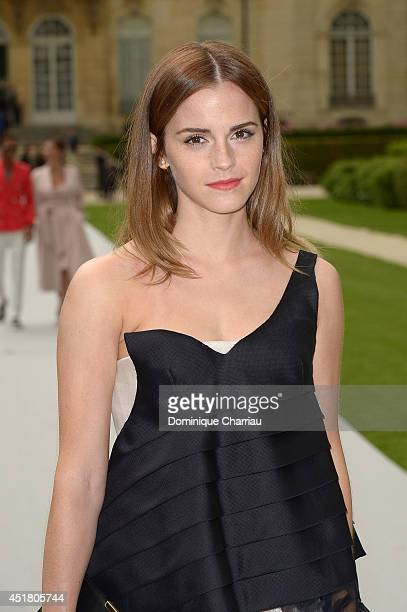 Emma Watson arrives at Christian Dior show as part of Paris Fashion Week Haute Couture Fall/Winter 20142015 on July 7 2014 in Paris France