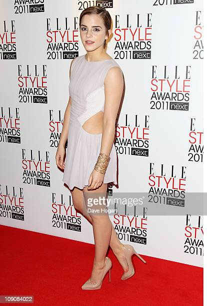 Emma Watson arrives at the ELLE Style Awards 2011 held at The Grand Connaught Rooms on February 14, 2011 in London, England.