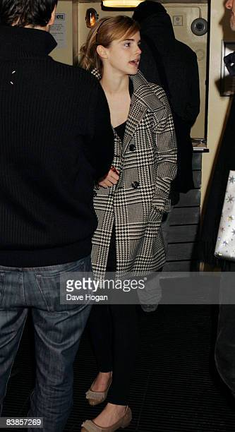 Emma Watson arrives at the UK premiere of Ano Una at Curzon Renoir Cinema on November 29 2008 in London England