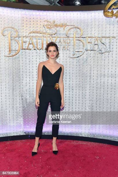Emma Watson arrives at the world premiere of Disney's new liveaction 'Beauty and the Beast' photographed in front of the Swarovski crystal wall at...