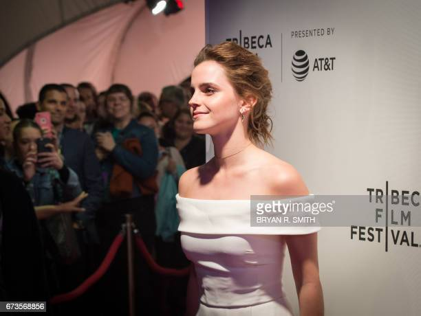 Emma Watson arrives to the World Premiere of The Circle at the 2017 Tribeca Film Festival April 26 2017 in New York / AFP PHOTO / Bryan R Smith
