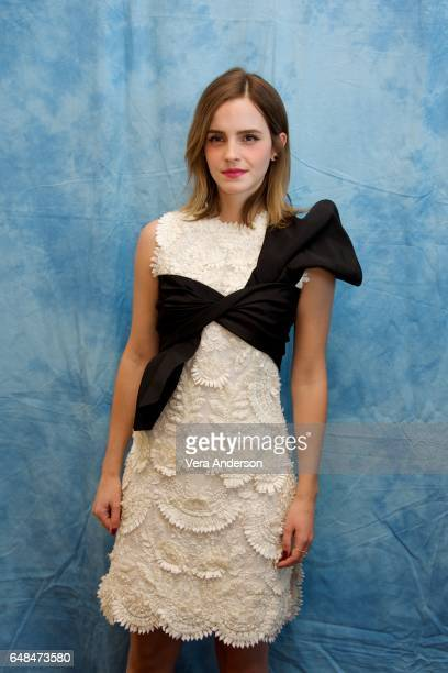 "Emma Watson at the ""Beauty and the Beast"" Press Conference at the Montage Hotel on March 5, 2017 in Beverly Hills, California."