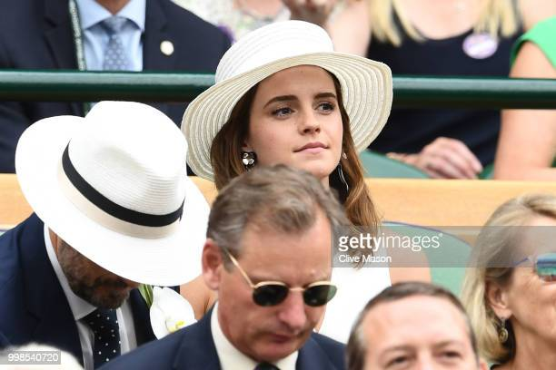 Emma Watson attends day twelve of the Wimbledon Lawn Tennis Championships at All England Lawn Tennis and Croquet Club on July 14 2018 in London...