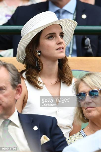 Emma Watson attends day twelve of the Wimbledon Lawn Tennis Championships at All England Lawn Tennis and Croquet Club on July 14, 2018 in London,...