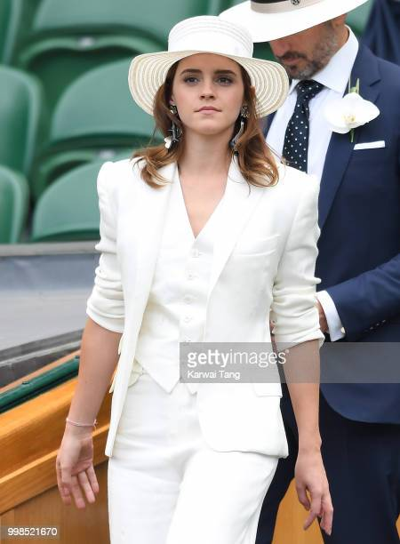 Emma Watson attends day twelve of the Wimbledon Tennis Championships at the All England Lawn Tennis and Croquet Club on July 14, 2018 in London,...