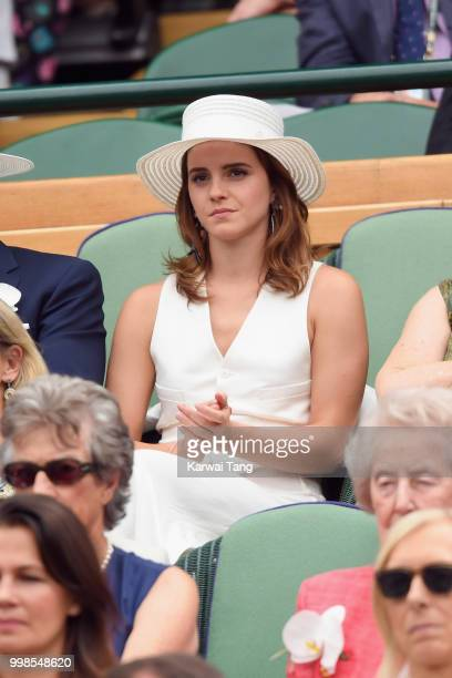 Emma Watson attends day twelve of the Wimbledon Tennis Championships at the All England Lawn Tennis and Croquet Club on July 13 2018 in London England