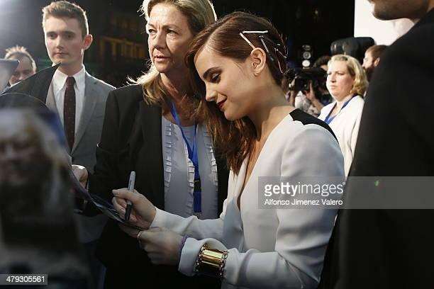 Emma Watson attends 'Noe' Madrid Premiere at Palafox Cinema on March 17 2014 in Madrid Spain