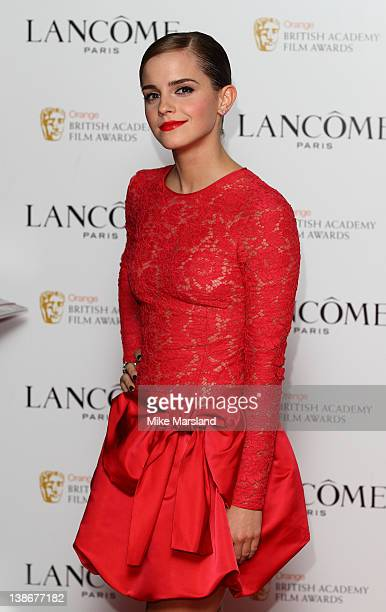Emma Watson attends special pre-Orange British Academy Film Awards party, hosted by Lancome at The Savoy Hotel on February 10, 2012 in London,...