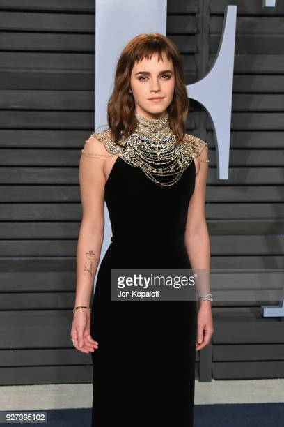 Emma Watson attends the 2018 Vanity Fair Oscar Party hosted by Radhika Jones at Wallis Annenberg Center for the Performing Arts on March 4 2018 in...