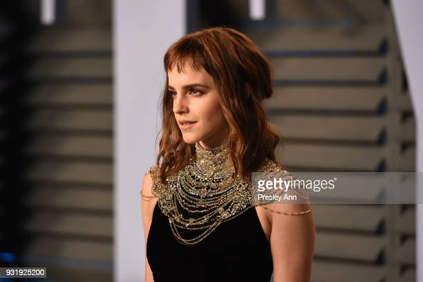 Emma Watson attends the 2018 Vanity Fair Oscar Party Hosted By Radhika Jones Arrivals at Wallis Annenberg Center for the Performing Arts on March 4...