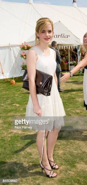 Emma Watson attends the Cartier International Polo Match at Guards Polo Club on July 27 2008 in Windsor England