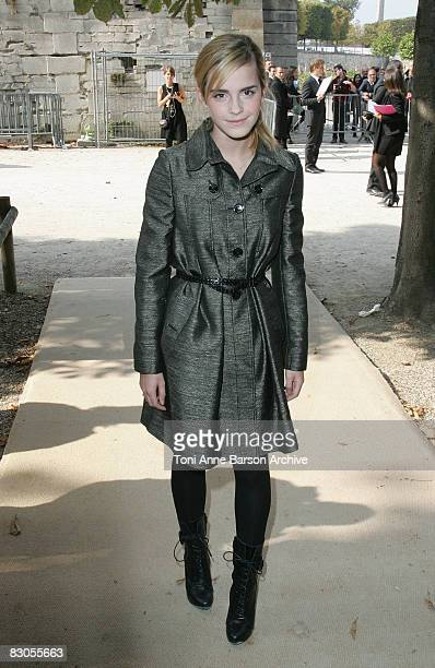 Emma Watson attends the Christian Dior '09 Spring Summer ReadytoWear fashion show at the Jardin des Tuileries on September 29 2008 in Paris France