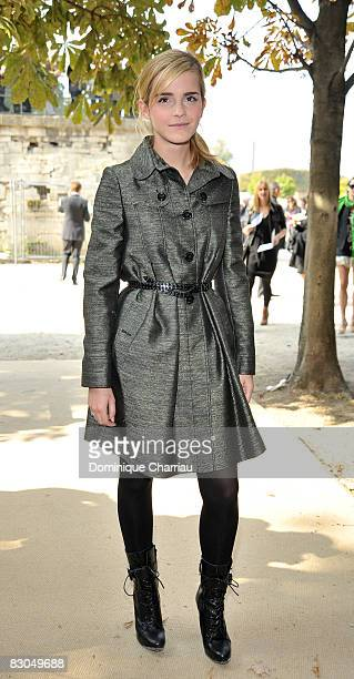 Emma Watson attends the Christian Dior PFW Spring/Summer 2008 show on September 29, 2008 in Paris, France.
