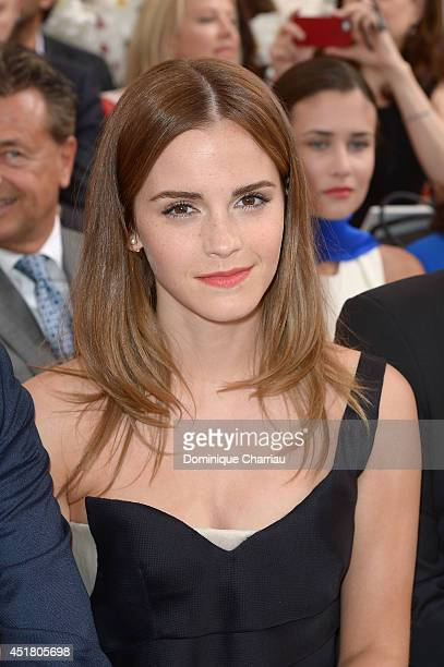 Emma Watson attends the Christian Dior show as part of Paris Fashion Week Haute Couture Fall/Winter 20142015 on July 7 2014 in Paris France