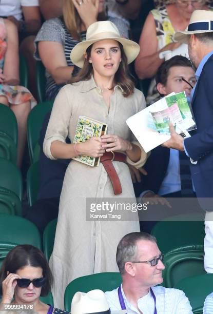 Emma Watson attends the men's single final on day thirteen of the Wimbledon Tennis Championships at the All England Lawn Tennis and Croquet Club on...
