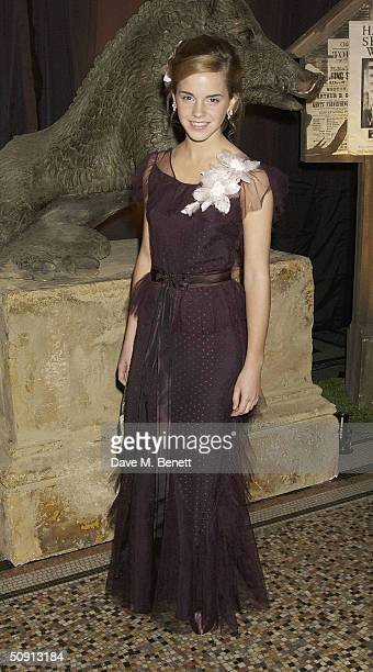 Emma Watson attends the Party for the UK Premiere of 'Harry Potter And The Prisoner Of Azkaban' at the Natural History Museum on May 30 2004 in...