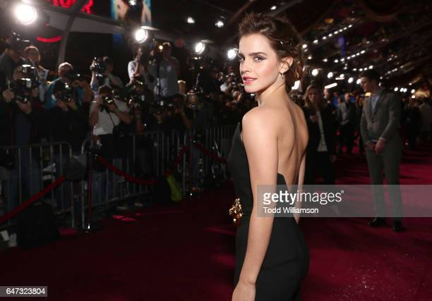"Emma Watson attends the premiere of Disney's ""Beauty And The Beast"" at El Capitan Theatre on March 2, 2017 in Los Angeles, California."