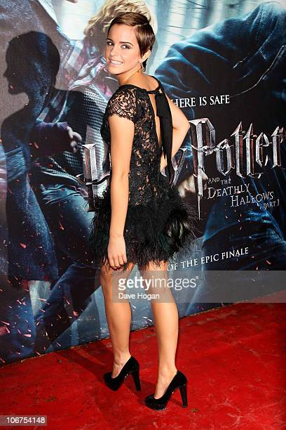 Emma Watson attends the World Premiere of Harry Potter And The Deathly Hallows Part 1 held at The Odeon Leicester Square on November 11 2010 in...
