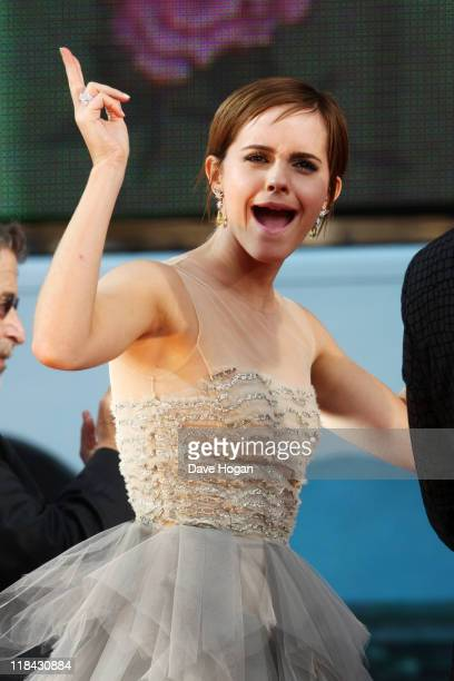Emma Watson attends the world premiere of Harry Potter and the Deathly Hallows Part 2 at Trafalgar Square on July 7 2011 in London England