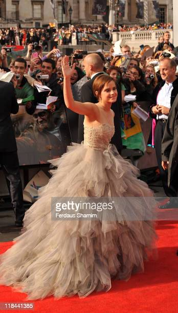 Emma Watson attends the world premiere of 'Harry Potter And The Deathly Hallows: Part 2' at Trafalgar Square on July 7, 2011 in London, England.