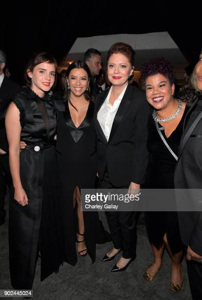 Emma Watson Eva Longoria Susan Sarandon and Rosa Clemente attend the 2018 InStyle and Warner Bros 75th Annual Golden Globe Awards PostParty at The...