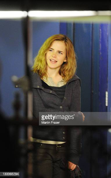 Emma Watson films scenes as Hermione Granger in the latest installment of the Harry Potter saga, 'Harry Potter and the Half-Blood Prince,' at...