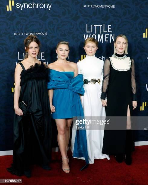 Emma Watson Florence Pugh Eliza Scanlen and Saoirse Ronan attend the world premiere of Little Women at Museum of Modern Art on December 07 2019 in...