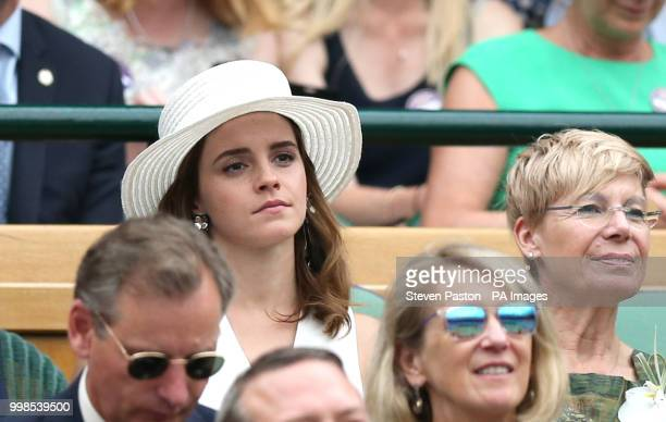 Emma Watson in the royal box on centre court on day twelve of the Wimbledon Championships at the All England Lawn Tennis and Croquet Club Wimbledon