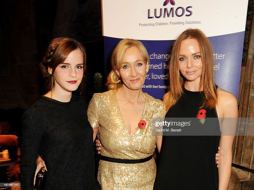 Emma Watson, J.K. Rowling and Stella McCartney attend the Lumos fundraising event hosted by J.K. Rowling at The Warner Bros. Harry Potter Tour on November 9, 2013 in London, England.