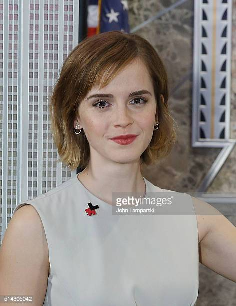Emma Watson lights The Empire State Building for International Women's Day and the launch of HeForShe Arts Week at The Empire State Building on March...