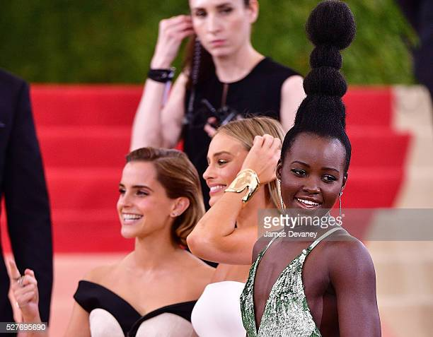 Emma Watson Margot Robbie and Lupita Nyong'o attend 'Manus x Machina Fashion in an Age of Technology' Costume Institute Gala at Metropolitan Museum...